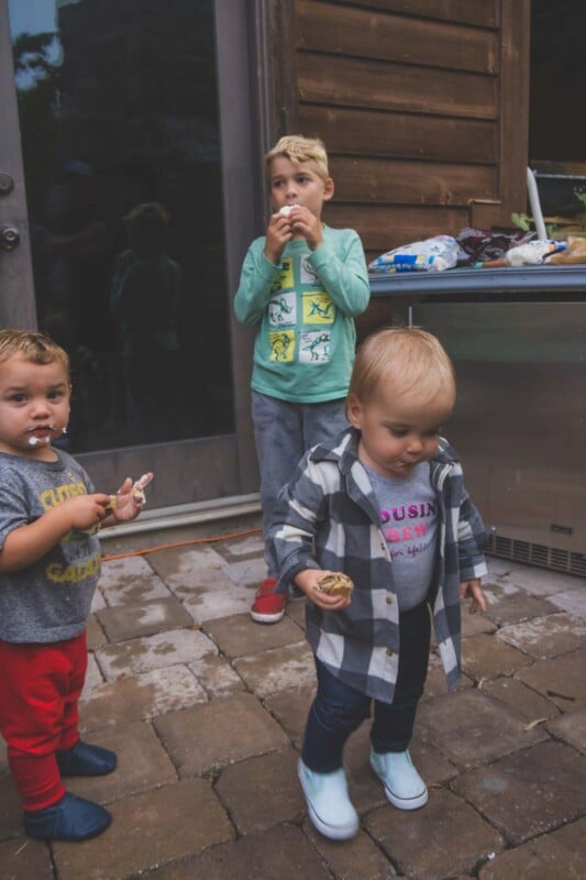 Toddlers eating s'mores