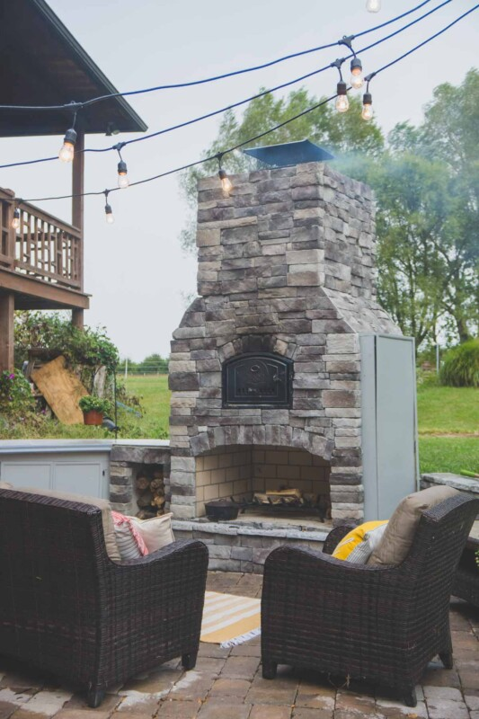 Round Grove brick oven in an outdoor entertaining area