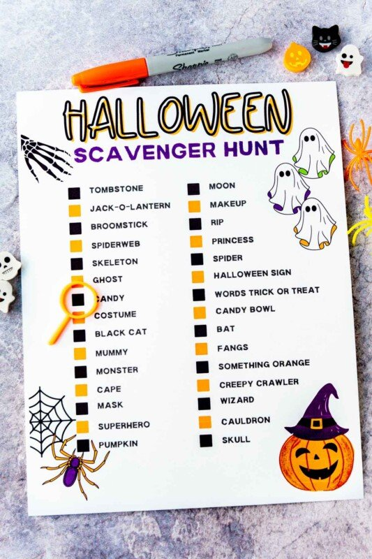 Halloween scavenger hunt with orange and black checkboxes
