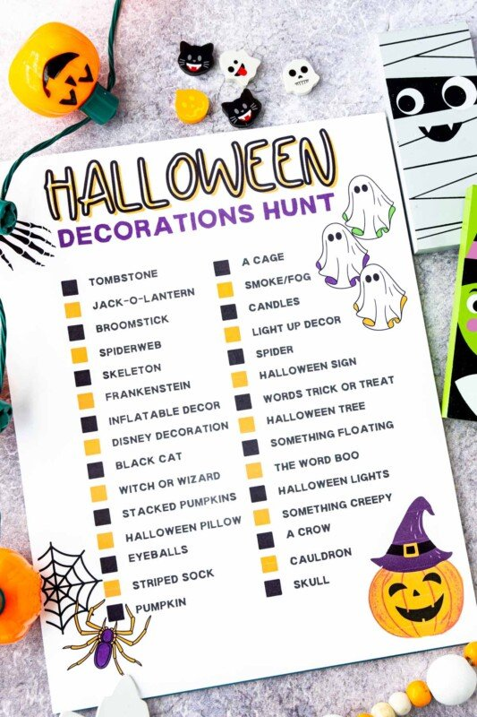 Printed out Halloween decorations hunt