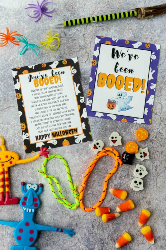 You've been booed signs with Halloween favors