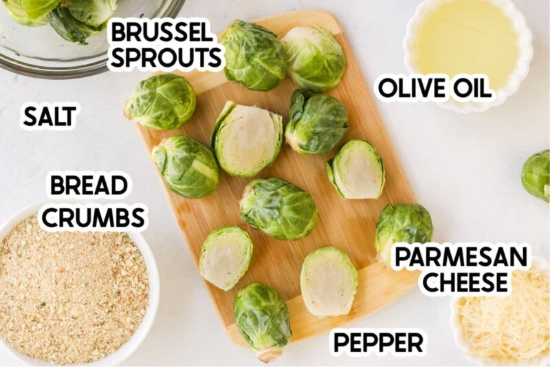 Brussel sprouts and ingredients needed to make air fryer brussel sprouts with labels