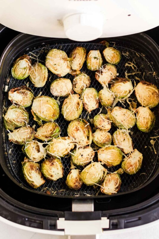 Air fryer brussel sprouts in an air fryer drawer