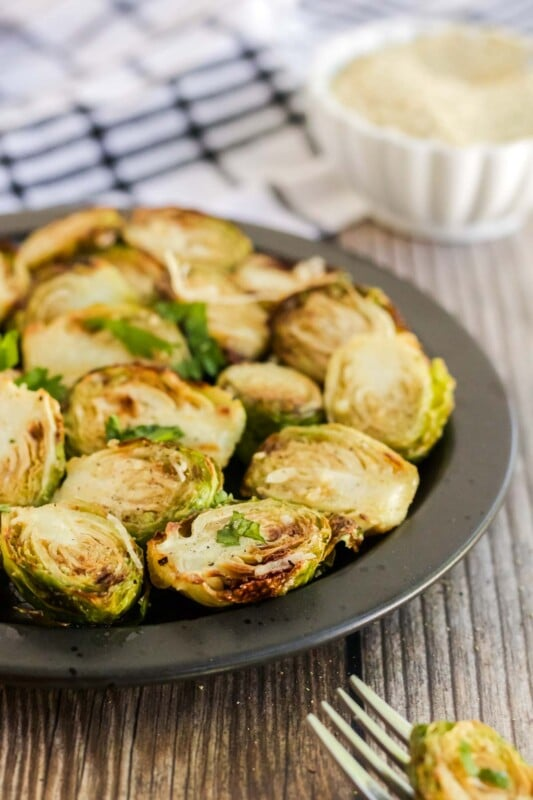 Half a plate of air fryer brussel sprouts
