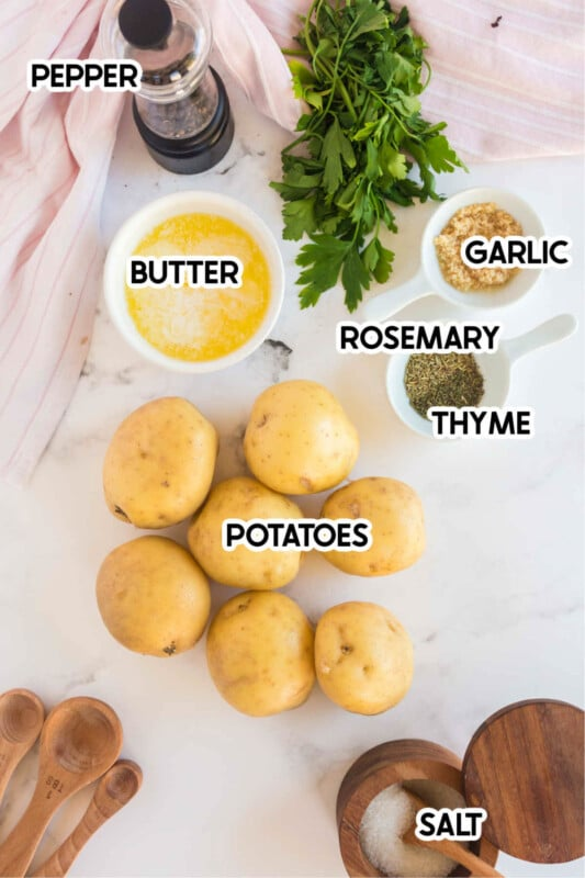 Potatoes, butter, and other ingredients for smashed potatoes with labels