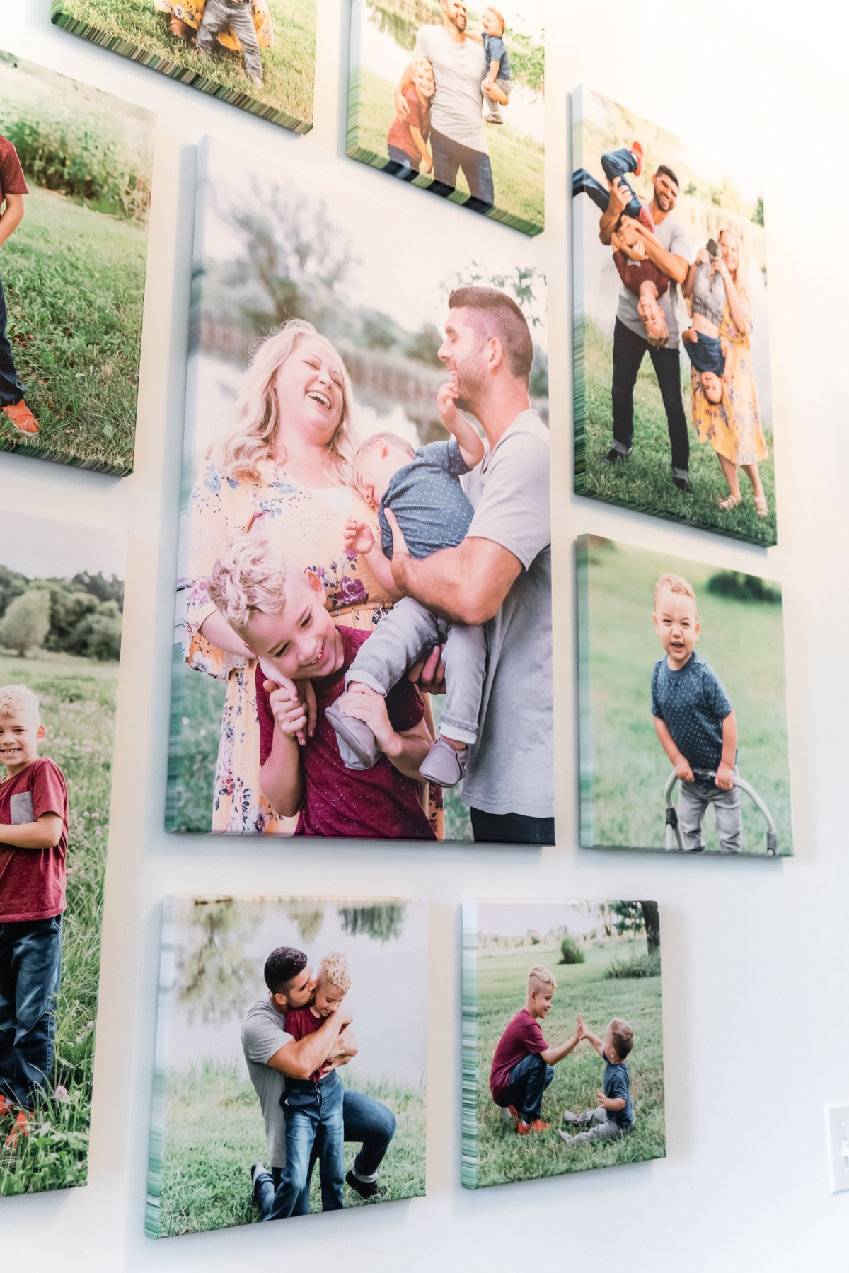 An angle shot of a family photo wall