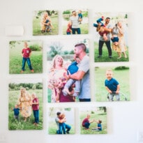 Family photos on canvases on a wall