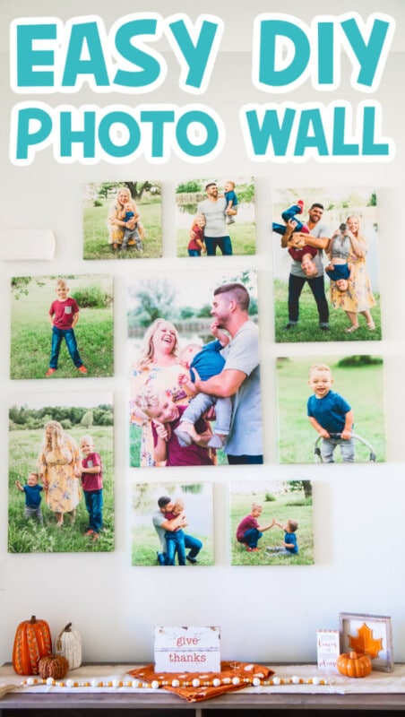 DIY photo wall with text for Pinterest