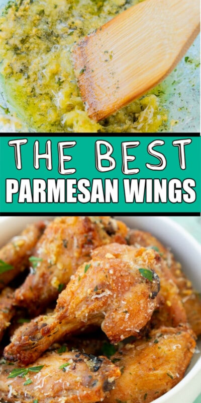 A plate of wings with text for Pinterest