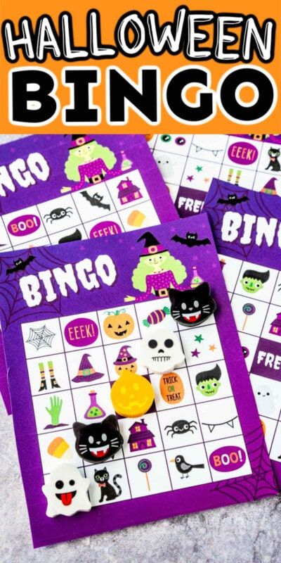Four Halloween bingo cards with text for Pinterest