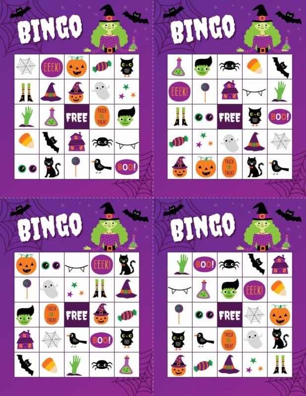 Four Halloween bingo cards