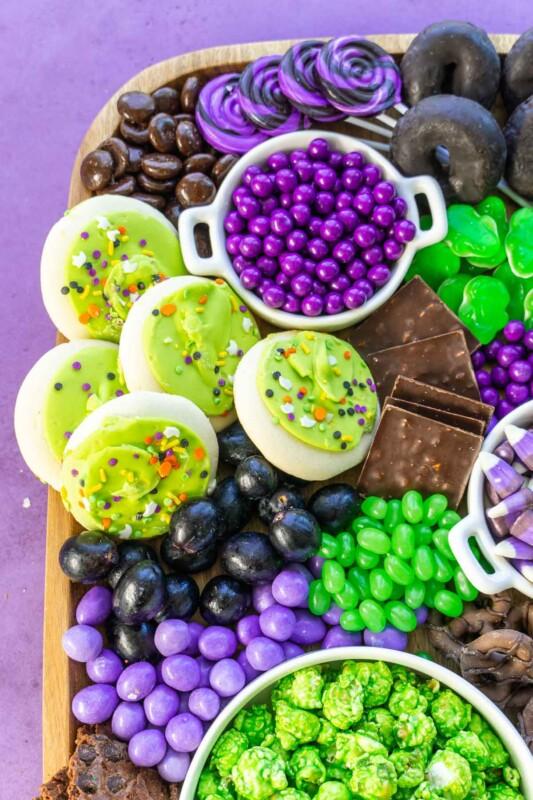 A close up photo of a Halloween dessert board