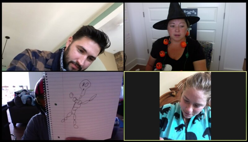 Four people on zoom with a picture of a skeleton