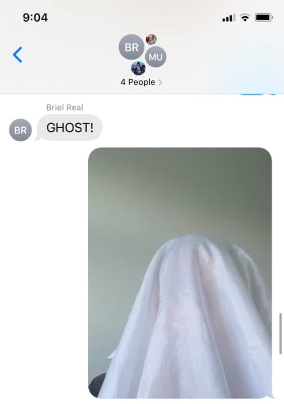 Phone screenshot with the word ghost