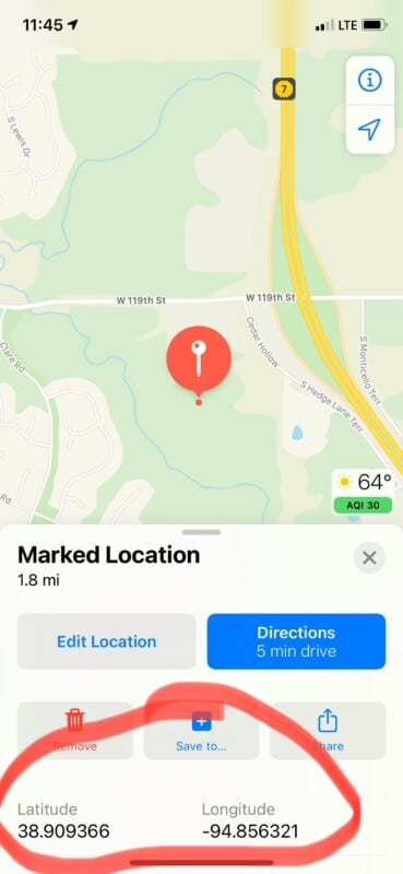 Apple Maps screenshot with GPS coordinates circled