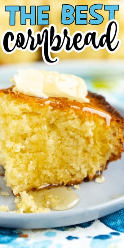 A large piece of cornbread with text for Pinterest