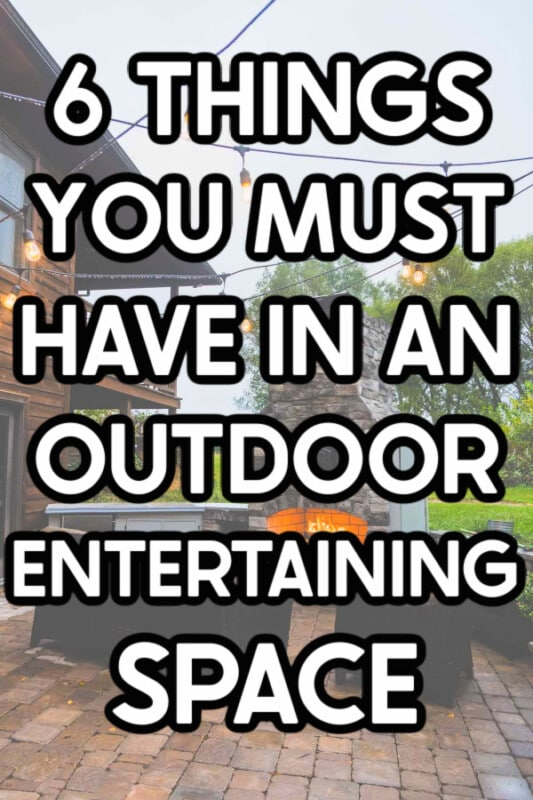 Outdoor entertaining area with text for Pinterest