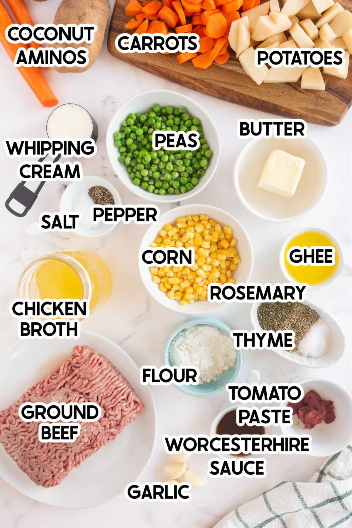 Ingredients with labels for shepherds pie