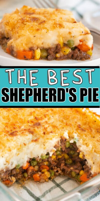 Collage of images of shepherds pie with text for Pinterest
