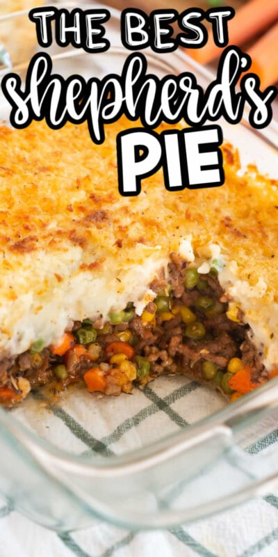 Glass dish with shepherd's pie in it