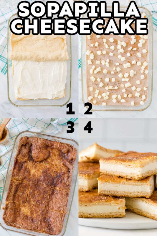 Collage of images of sopapilla cheesecake for Pinterest