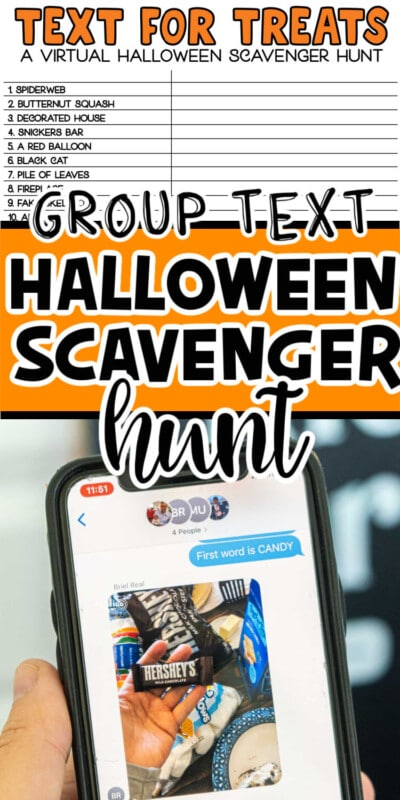 Two photos of a group Halloween scavenger hunt with text for Pinterest