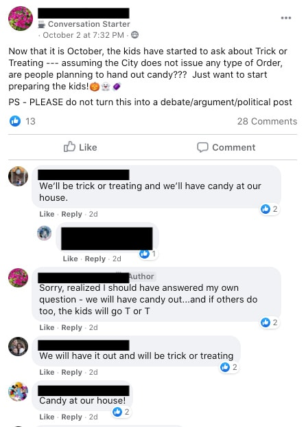 Facebook thread about trick or treating