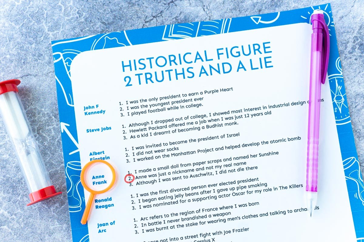 Printed out historical two truths and a lie game with a sand timer