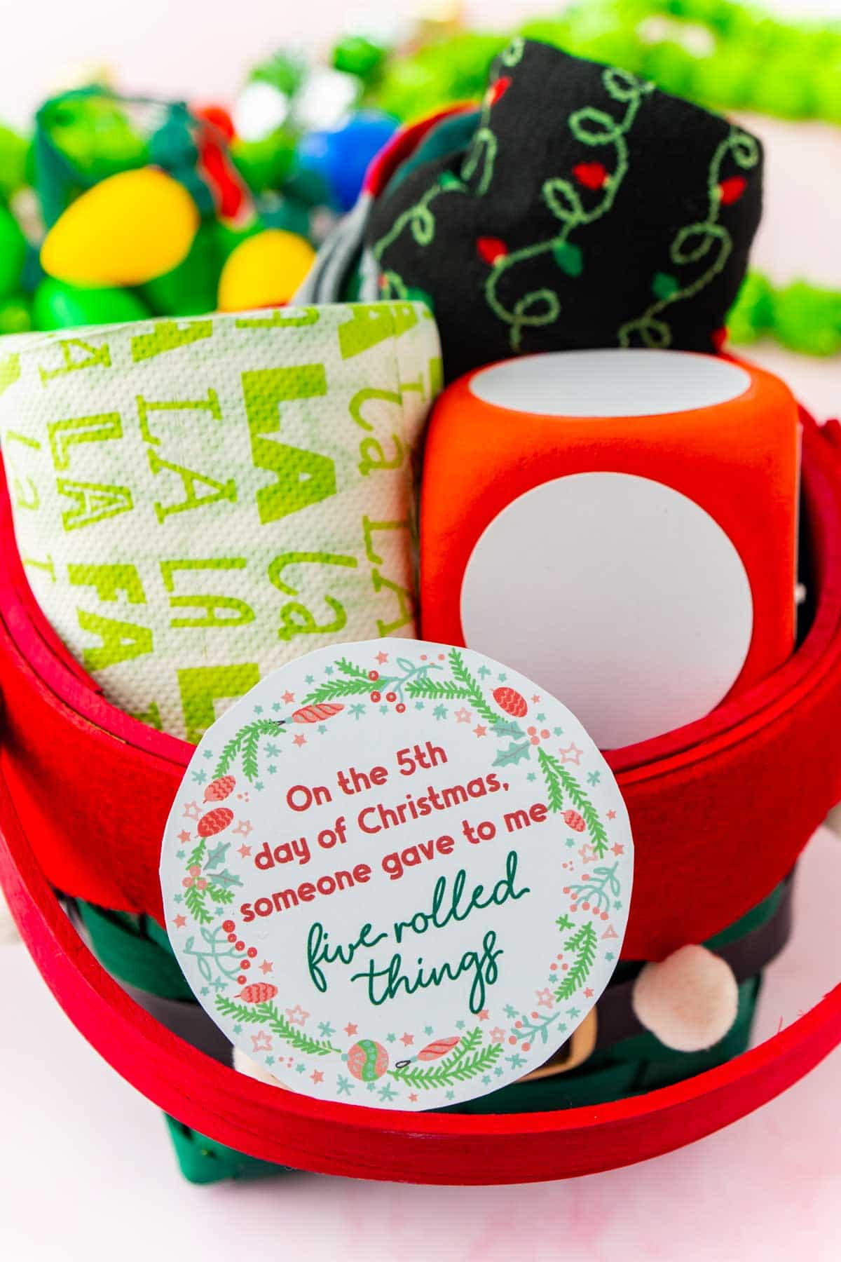 Basket of 12 days of christmas gifts that roll
