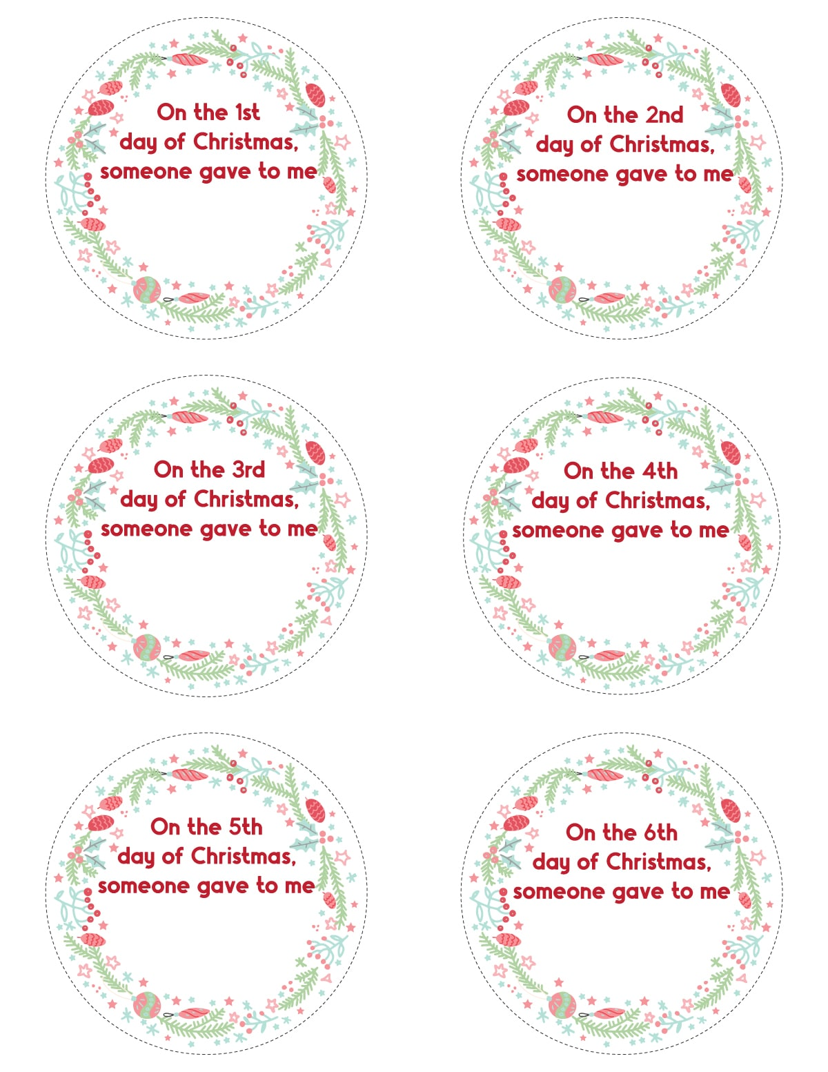 Blank 12 days of Christmas tags