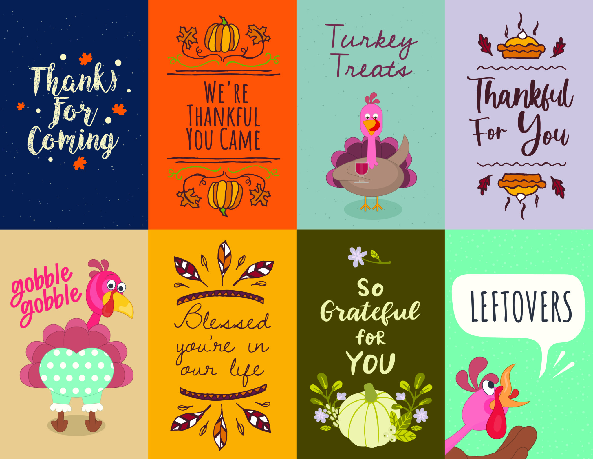 Eight different Thanksgiving gift tags