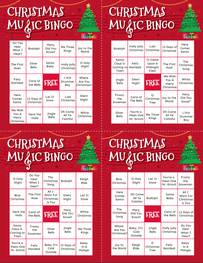Four Christmas music bingo cards