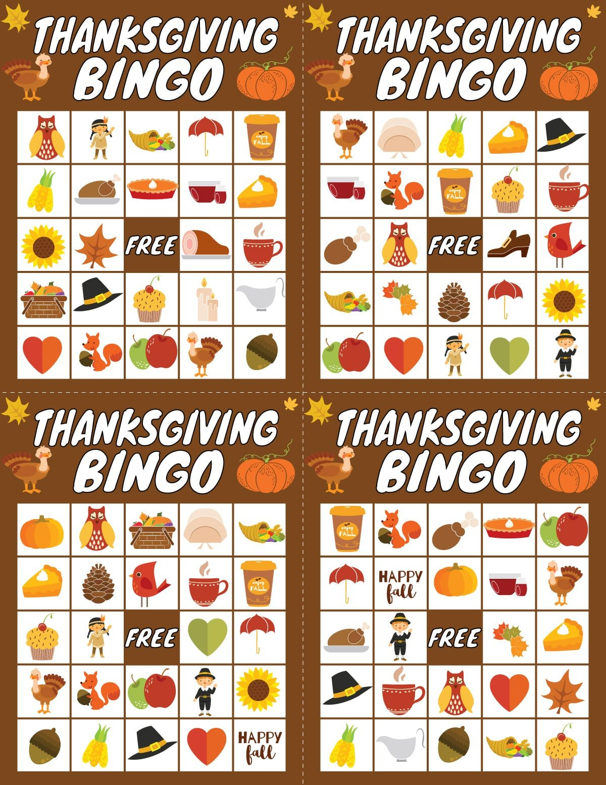 Four Thanksgiving bingo cards with Thanksgiving images on them