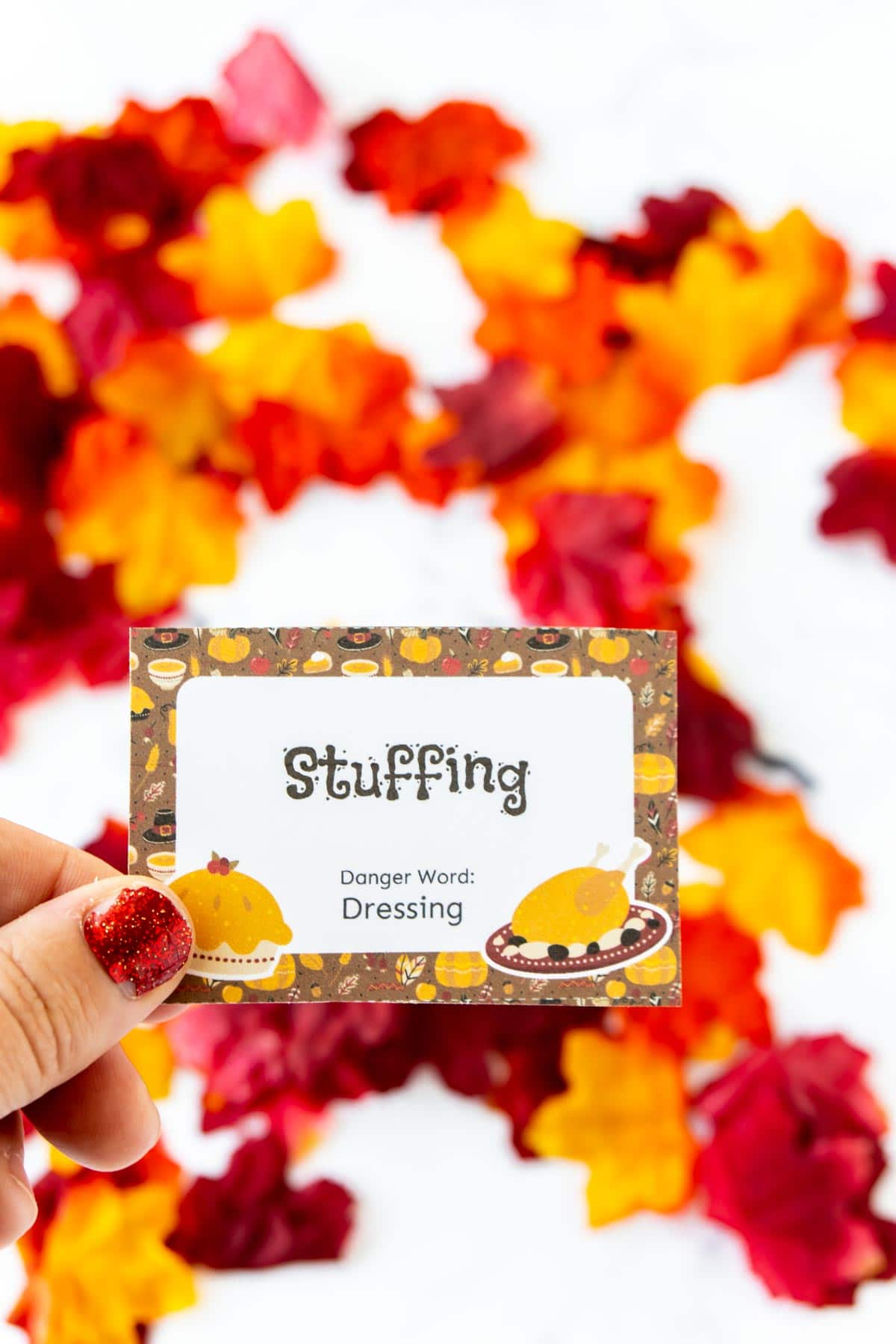 Thanksgiving danger word card with the word stuffing on it