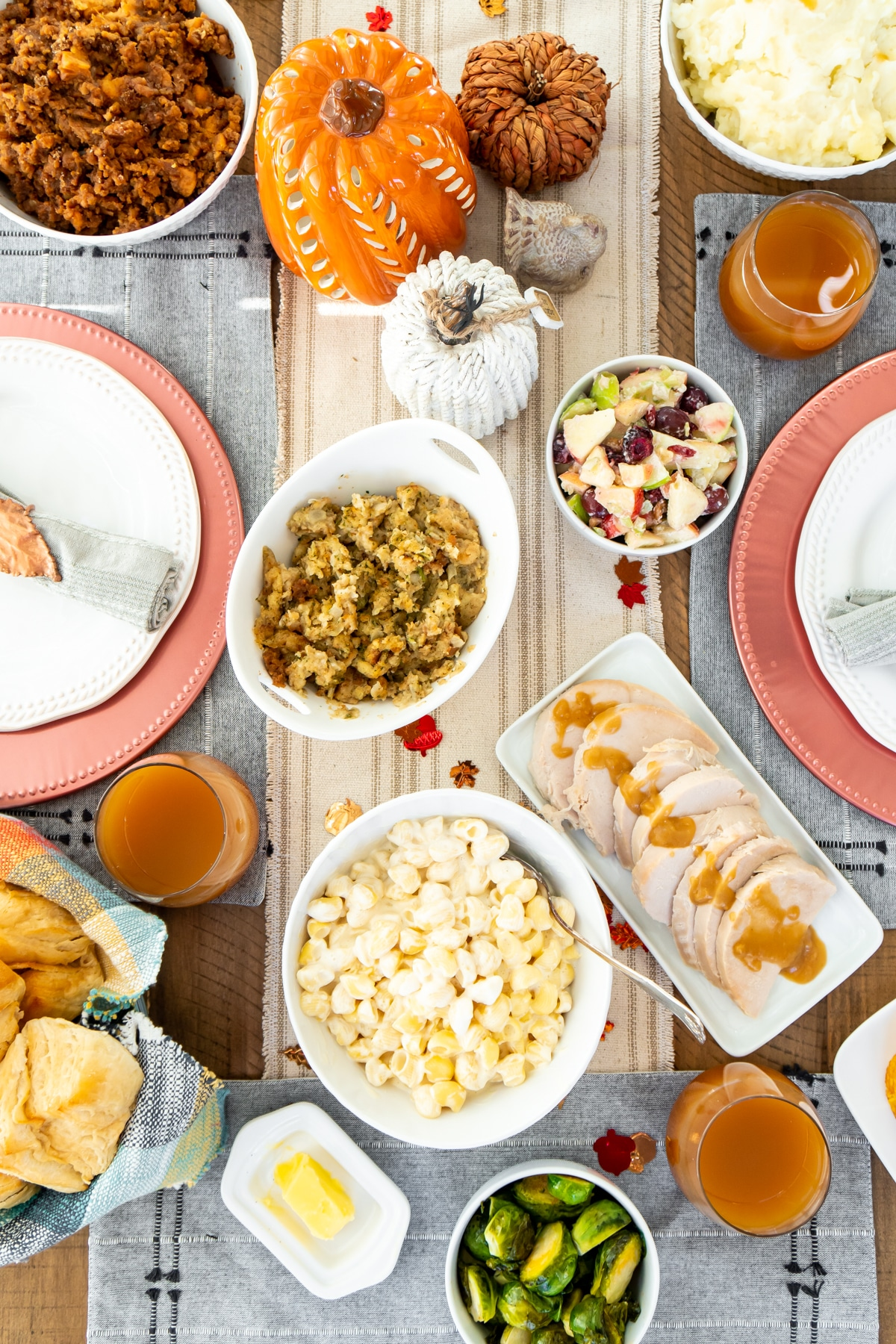 A top shot of a Thanksgiving table set with food