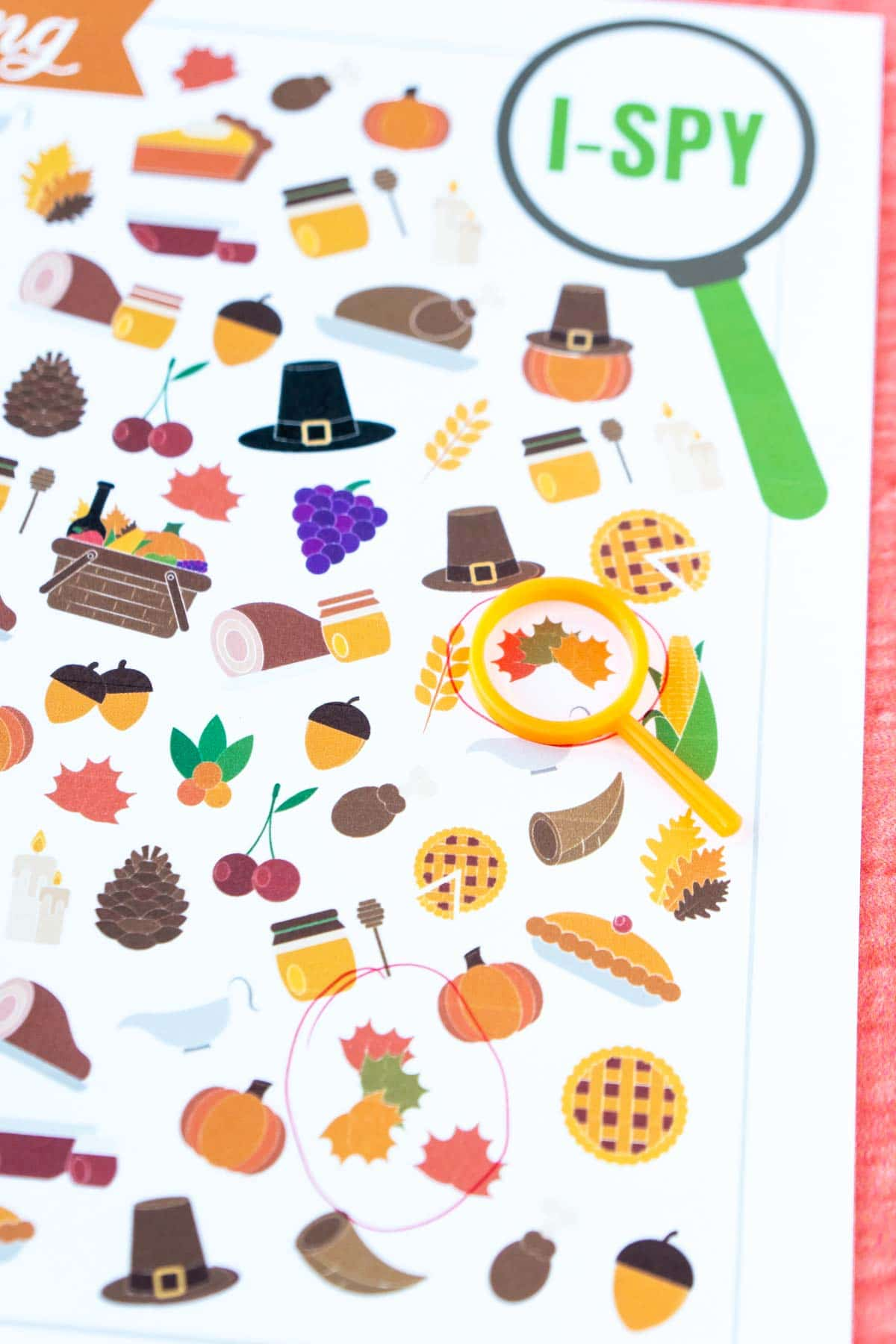 Thanksgiving i spy sheet with a magnifying class