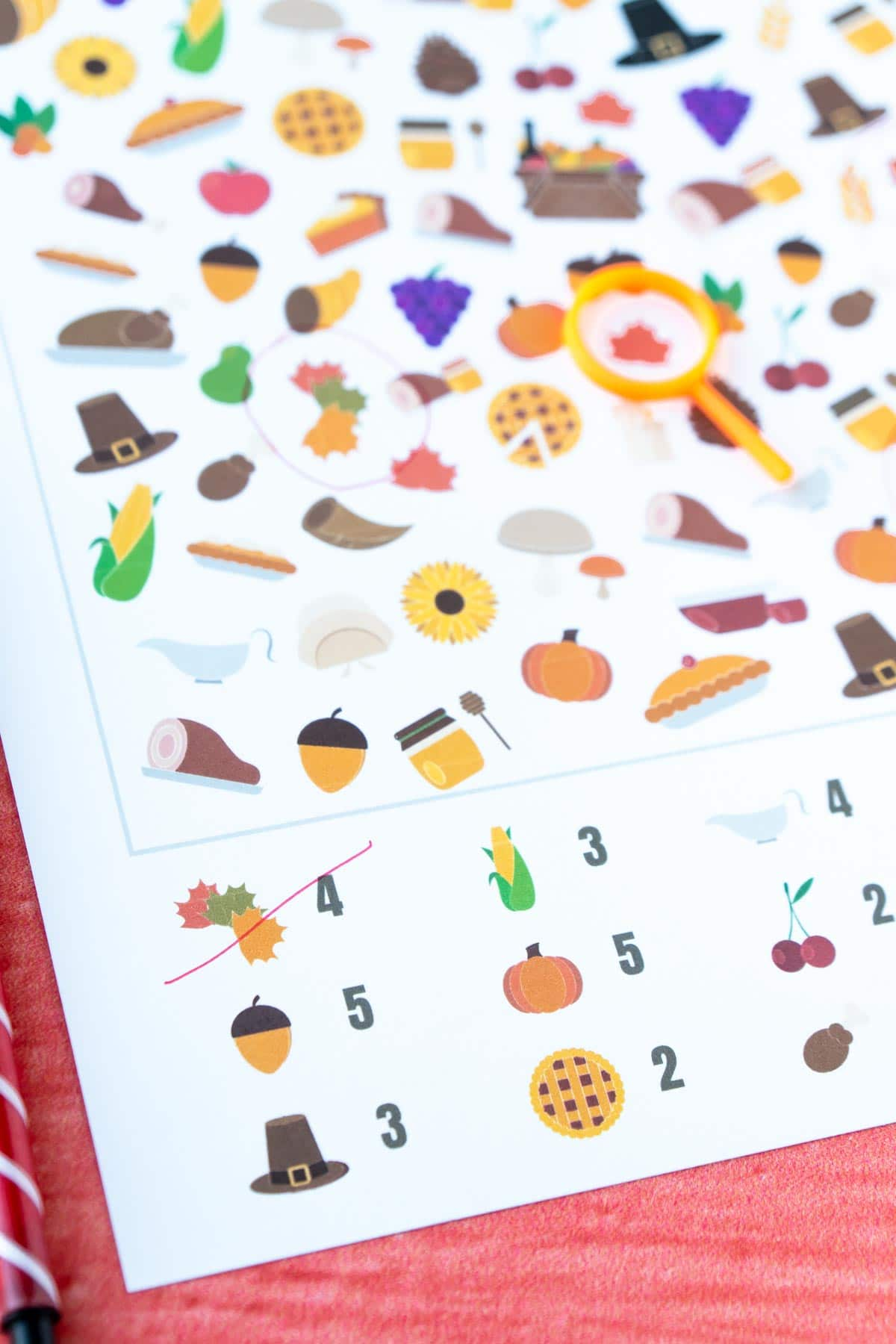 Thanksgiving i spy sheet with the first image crossed out