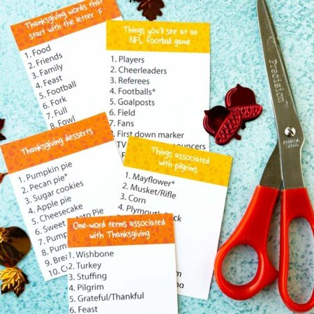 Thanksgiving outburst cards with scissors and a timer