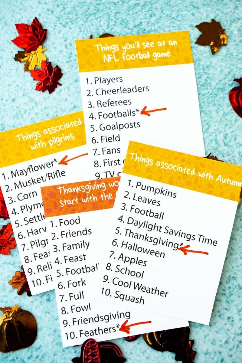 Thanksgiving outburst cards with arrows pointing to bonus words
