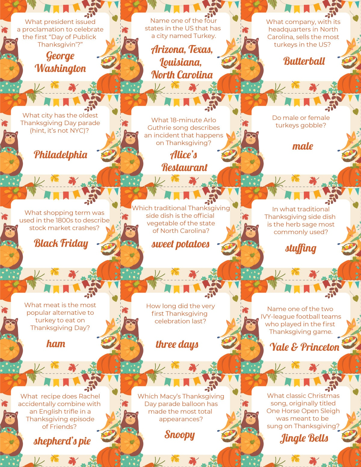 A sheet of Thanksgiving trivia cards