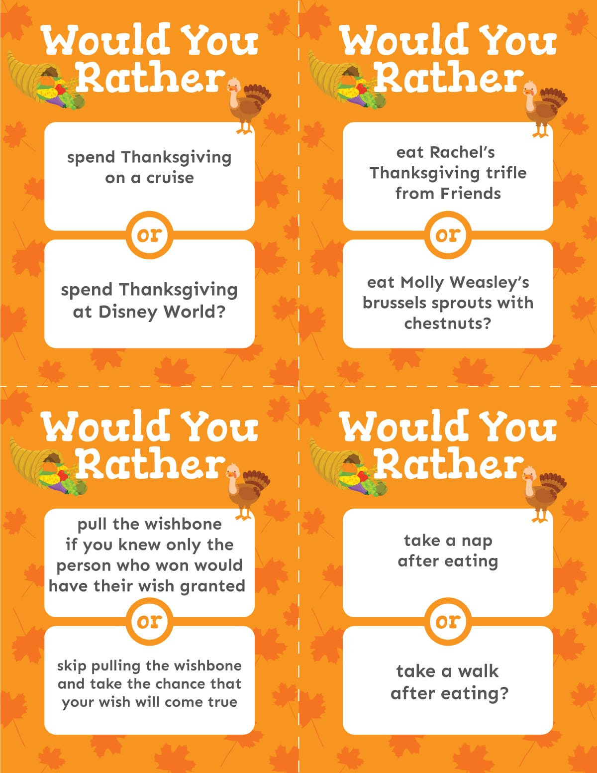 Orange Thanksgiving would you rather question cards
