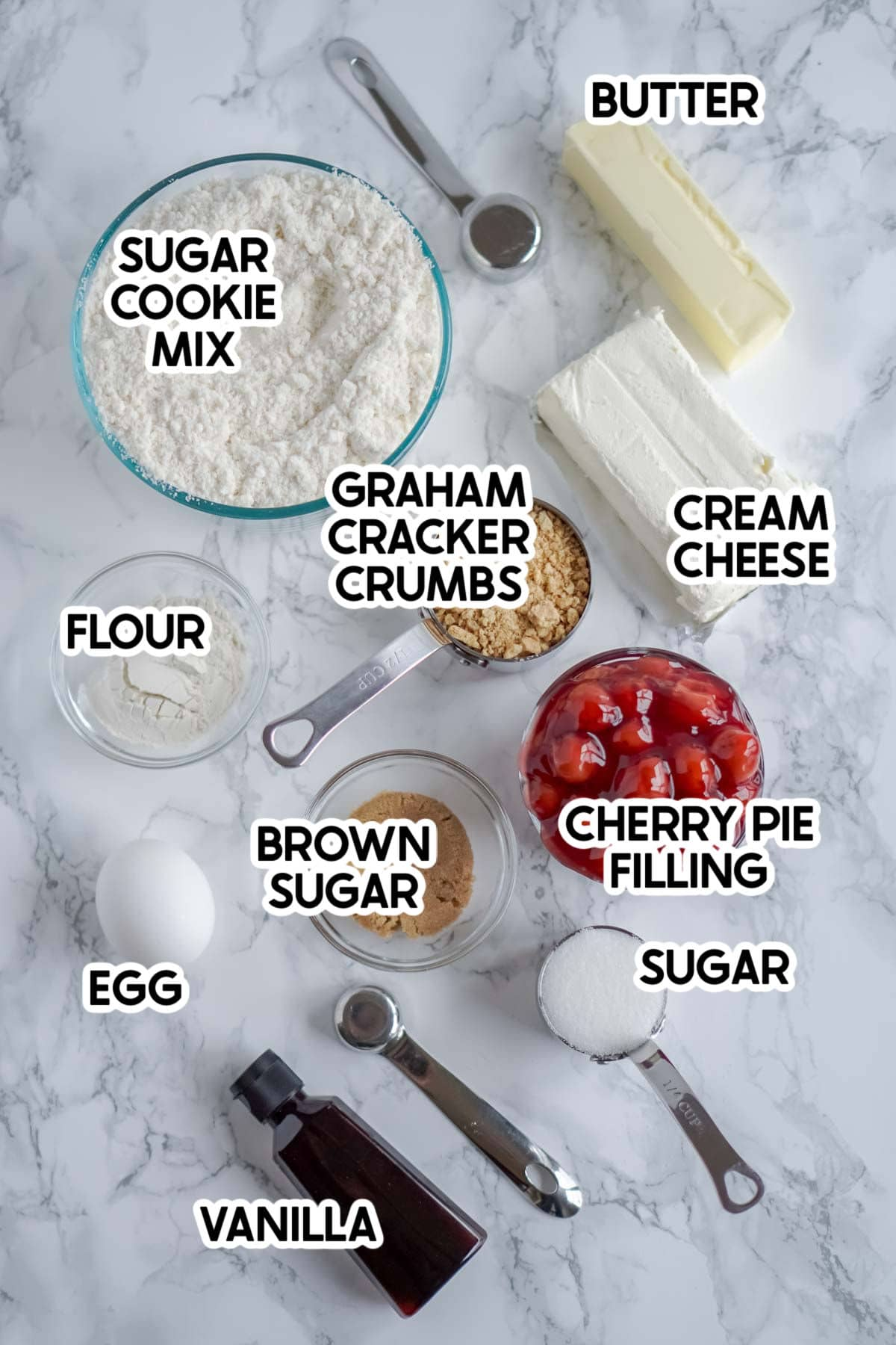 Ingredients for cherry cheesecake cookies with labels