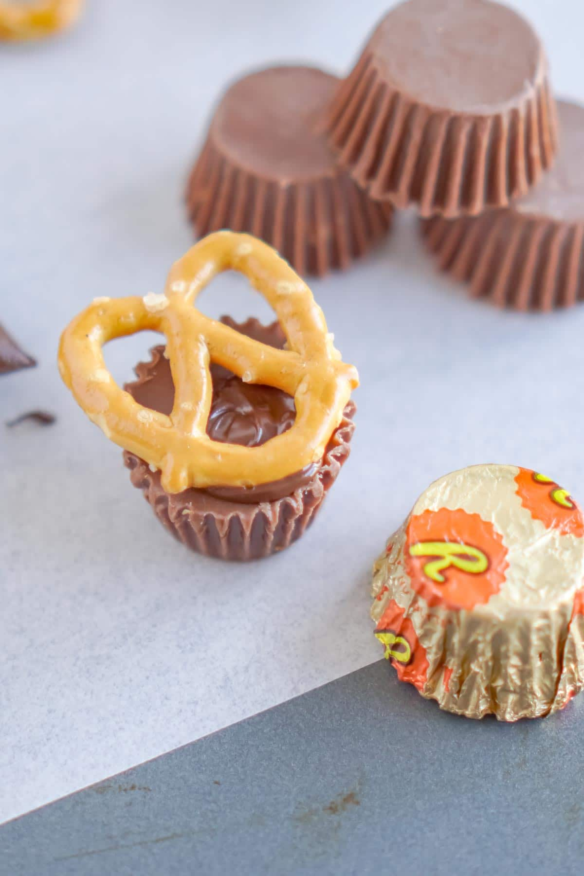 Pretzel on top of a Reese's Peanut Butter cup