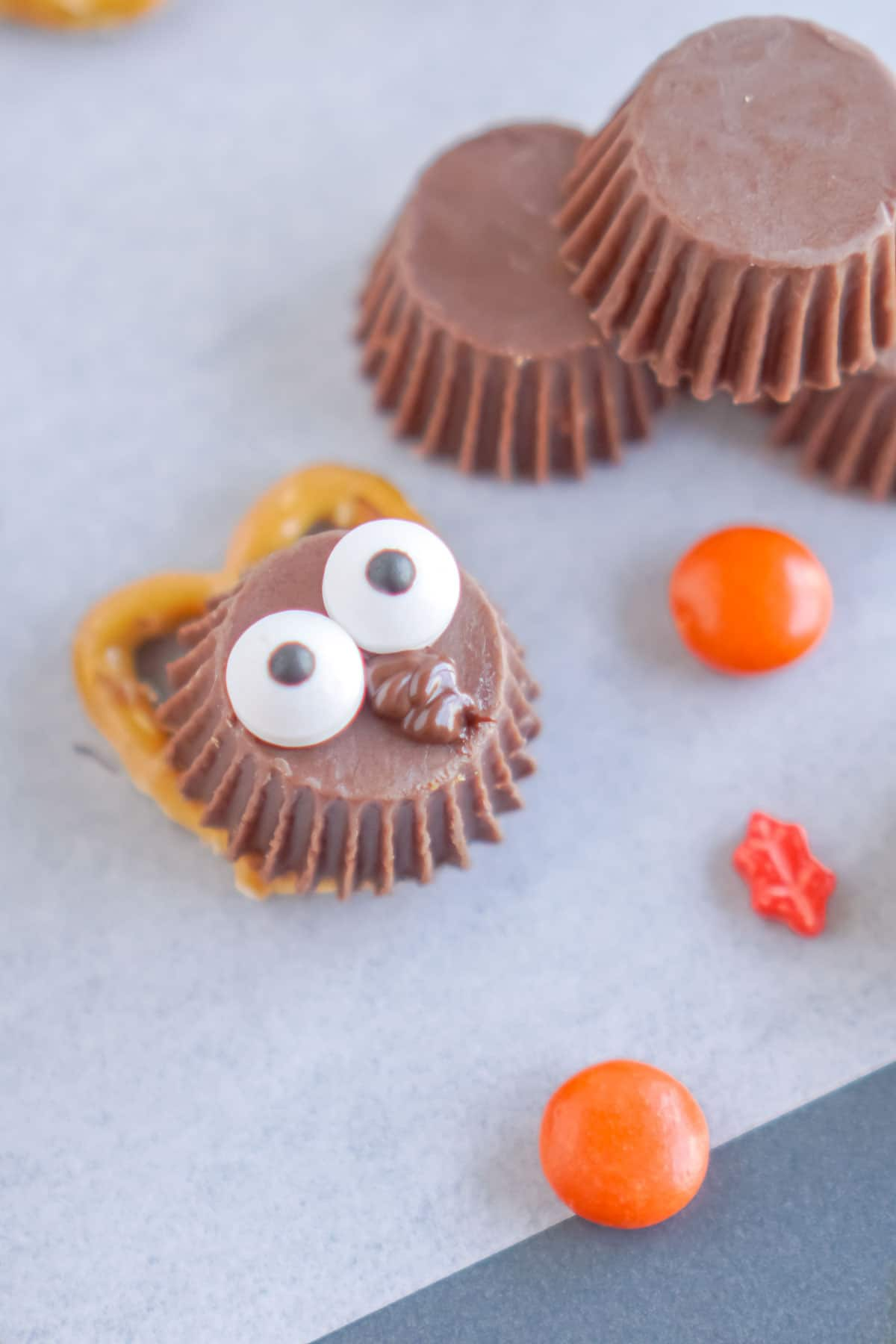 Reese's Peanut Butter cup with candy eye on top