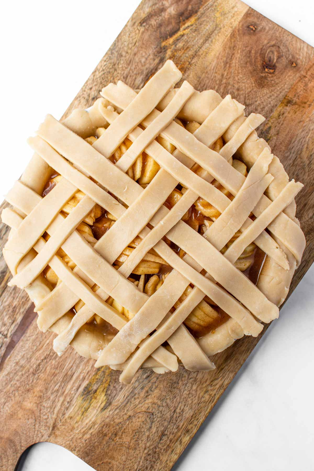 Pie with flaky pie crust strips on top