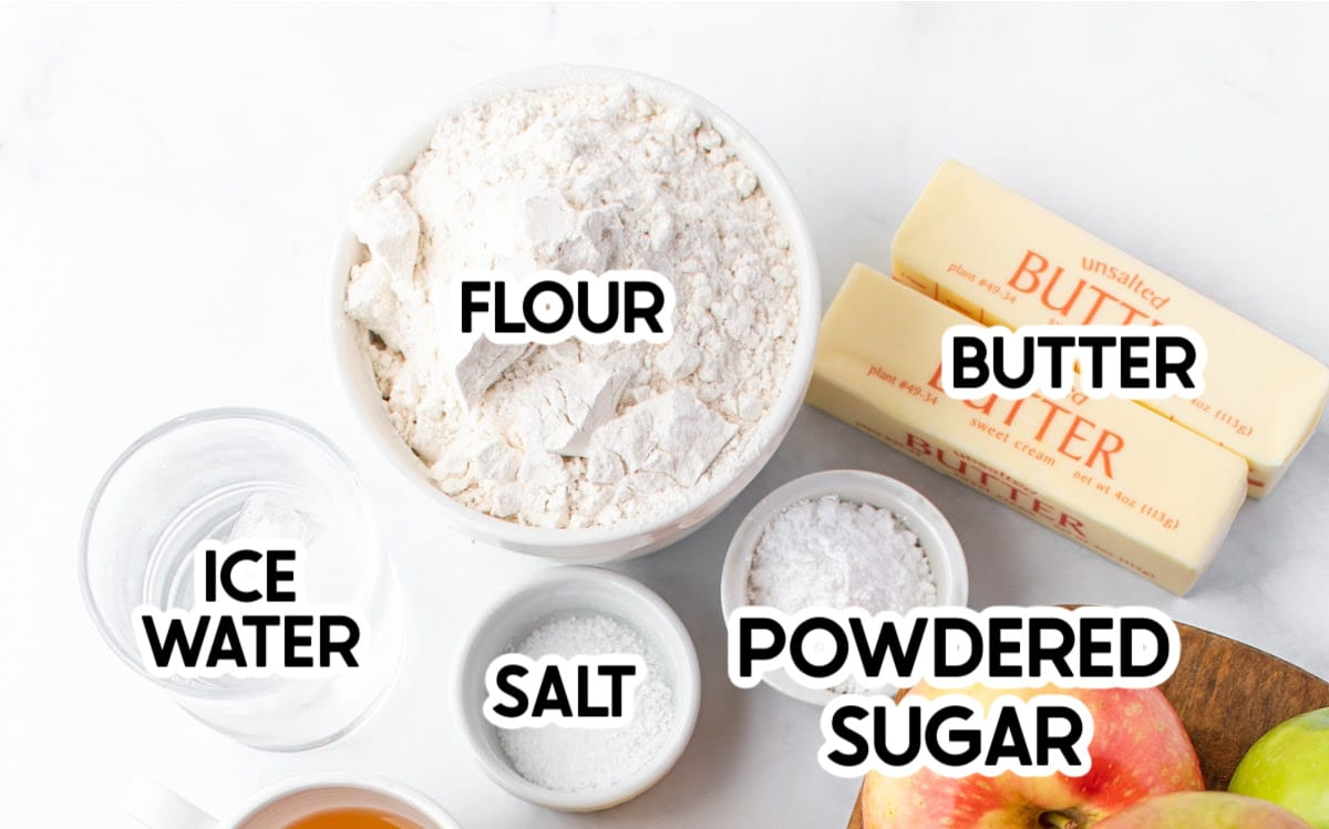 Ingredients needed for a flaky pie crust with labels