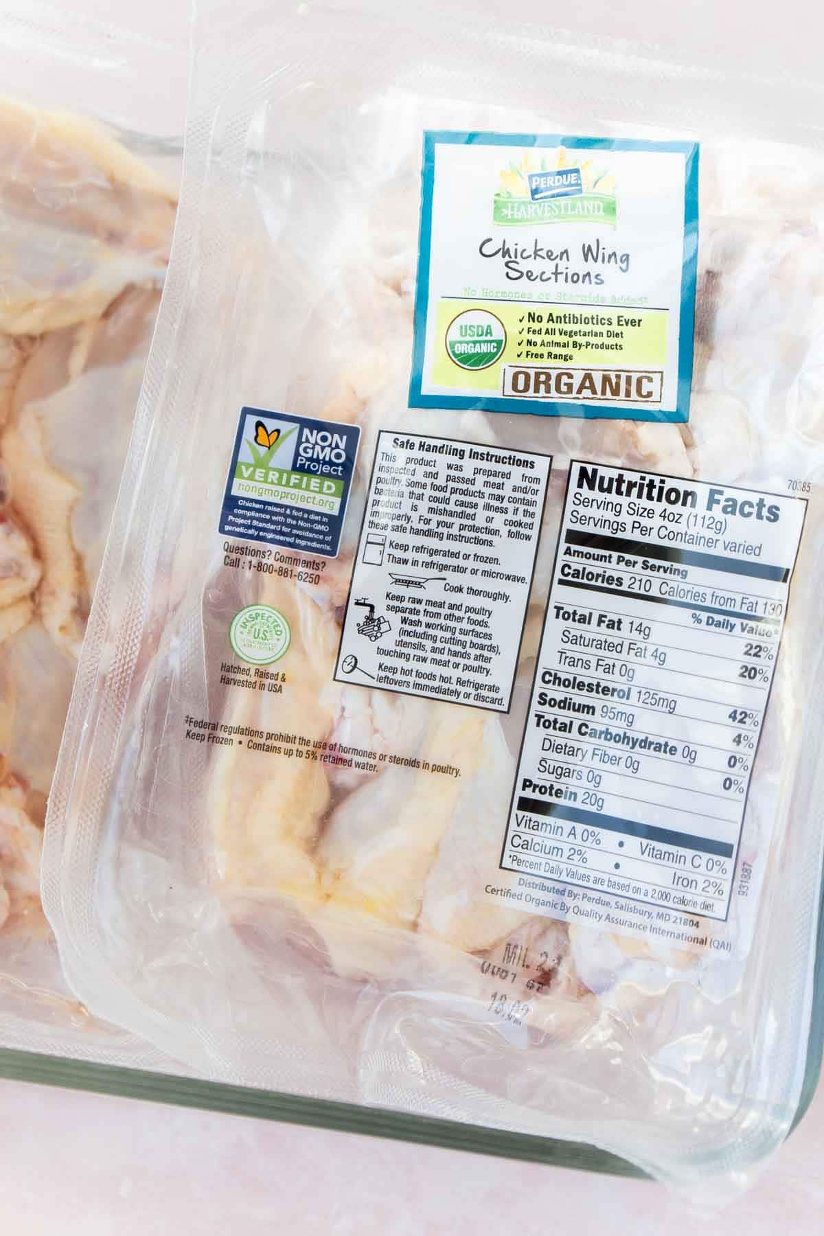 A pack of Perdue Harvestland organic chicken wings