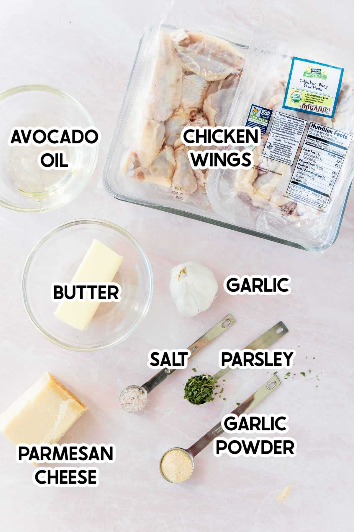ingredients in garlic parmesan wings with labels on top