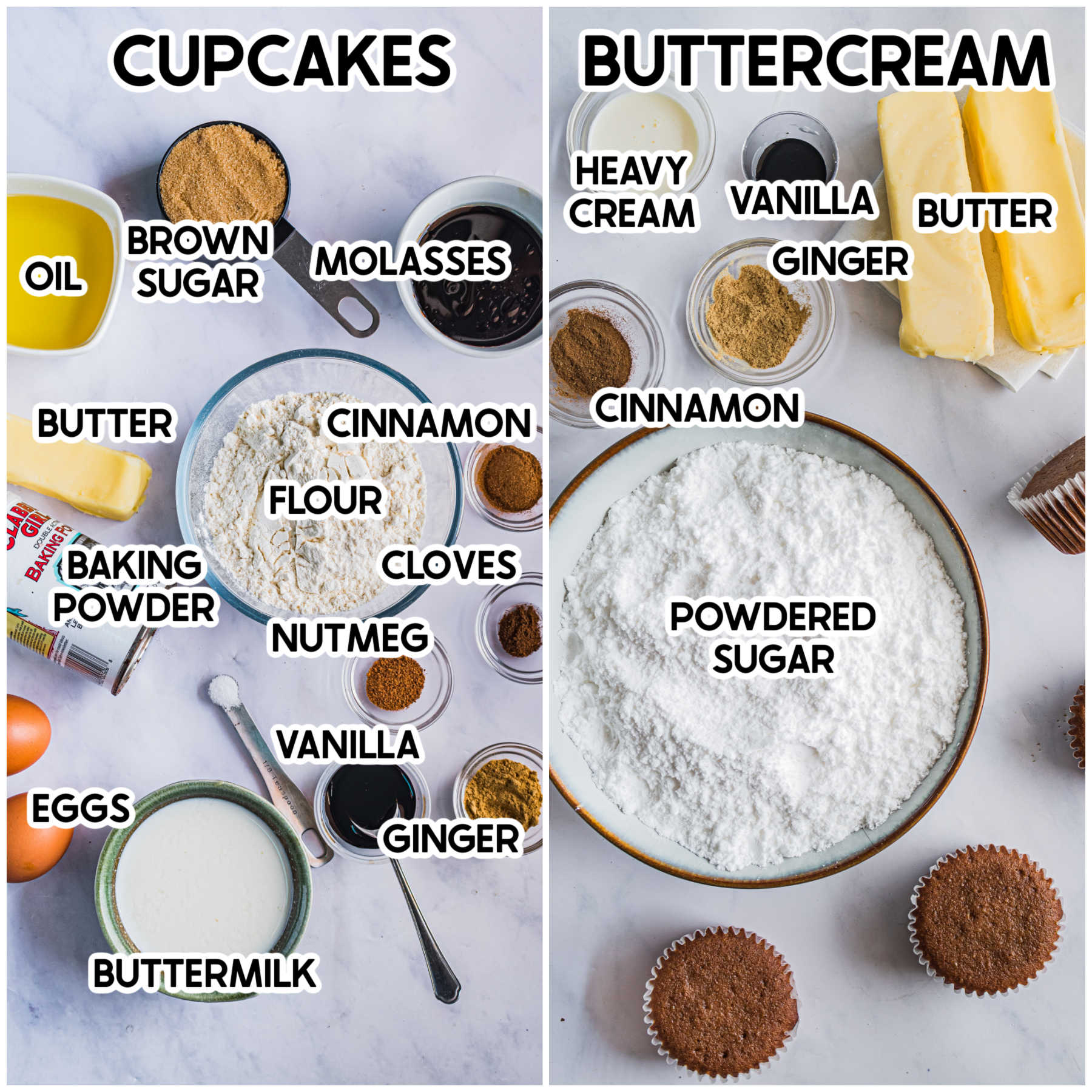 Ingredients for gingerbread cupcakes with labels
