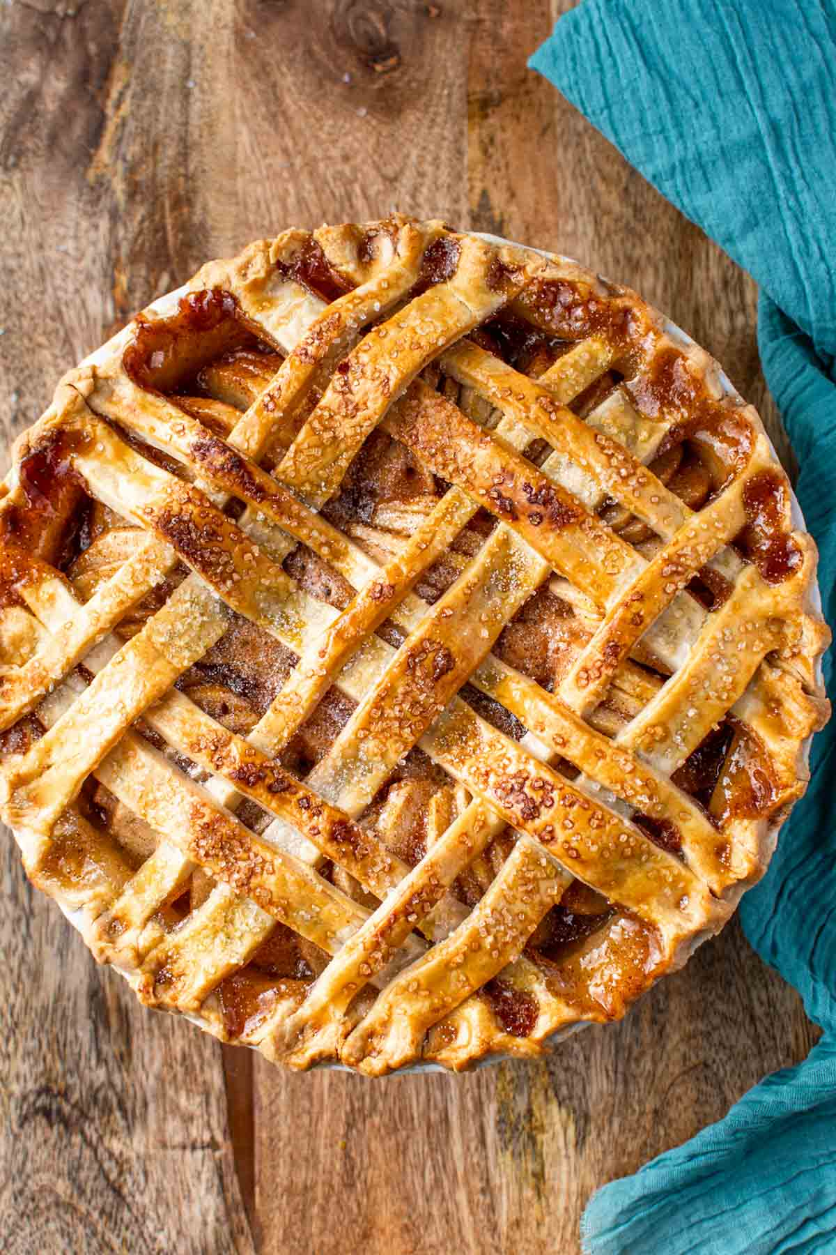 Top photo of a baked homemade apple pie